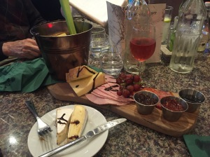 Our cheese board for two which was MORE than enough!