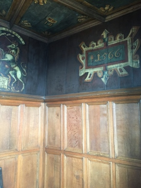 Pretty walls in the very small room where Mary Queen of Scots gave birth